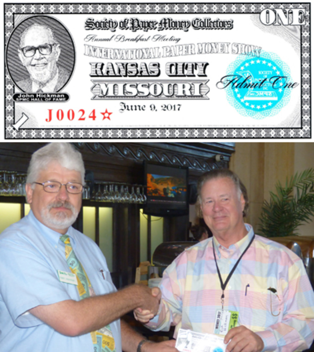 This year's SPMC breakfast ticket (regular-issue example shown at top) honored the SPMC Hall of Fame and depicted member John Hickman. Immediately above, Rick Hickman, right, receives a specimen example of the SPMC breakfast ticket, showing his father, from Robert L. Vandevender II.