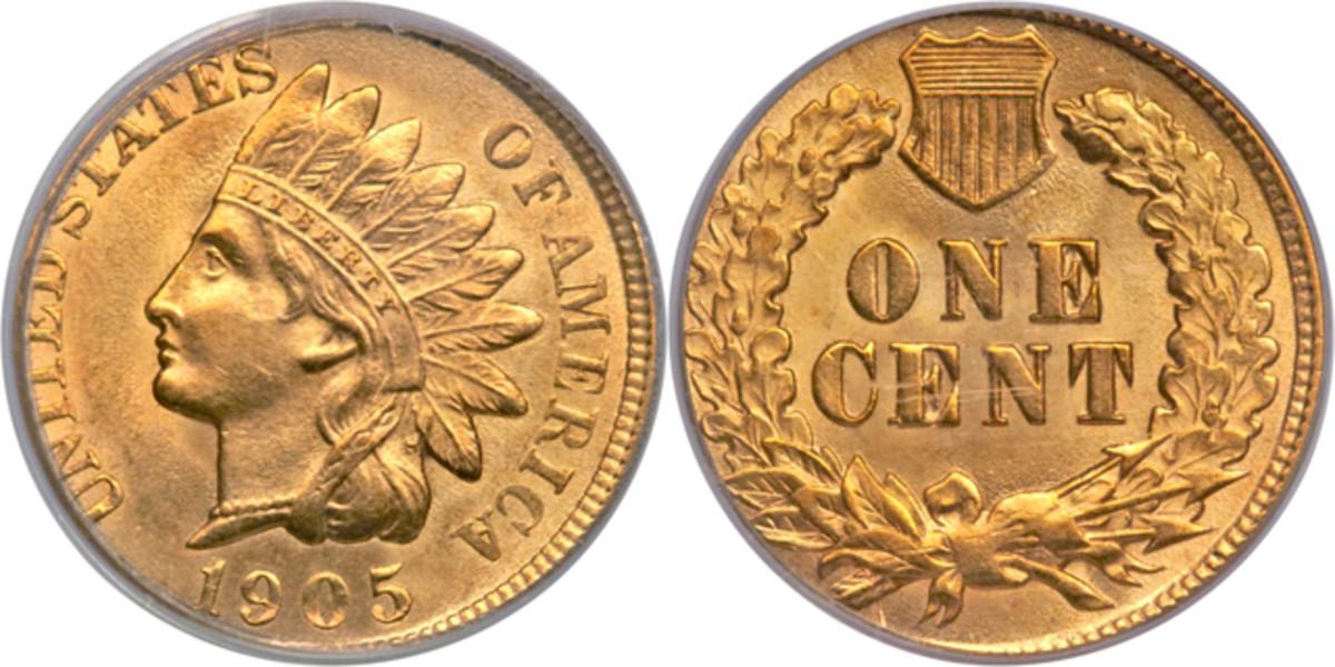 A 1905 Indian cent struck on a