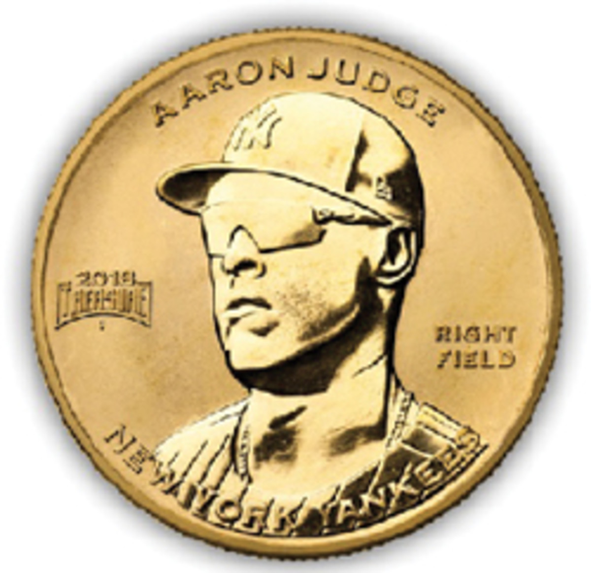 A rendition of the Baseball Treasure gold coin.
