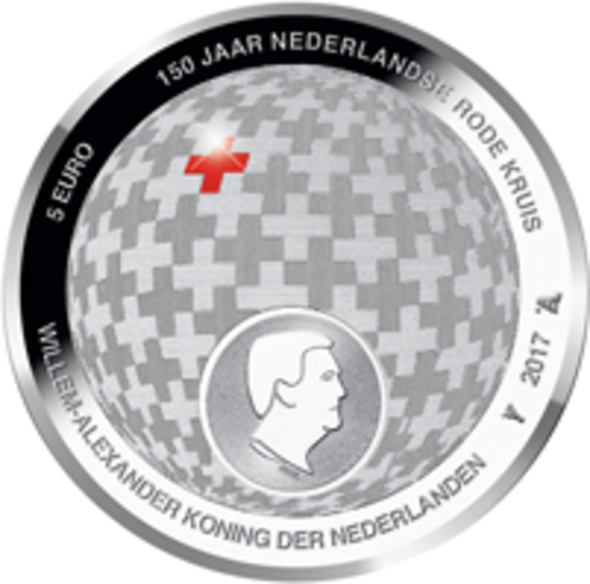 A red cross stands out on the common obverse/reverse design of the silver proof 5-euro coin that marks the 150th anniversary of the Dutch Red Cross. (Image courtesy Koninklijke Nederlandse Munt)
