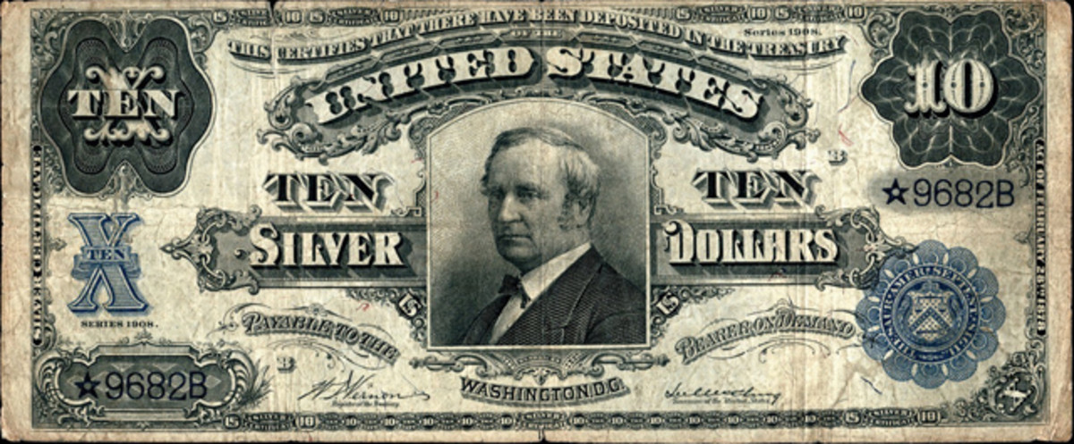 This 1908 $10 silver certificate from the Rickey Collection, graded PMG VG-10 Net, sold for $55,000.
