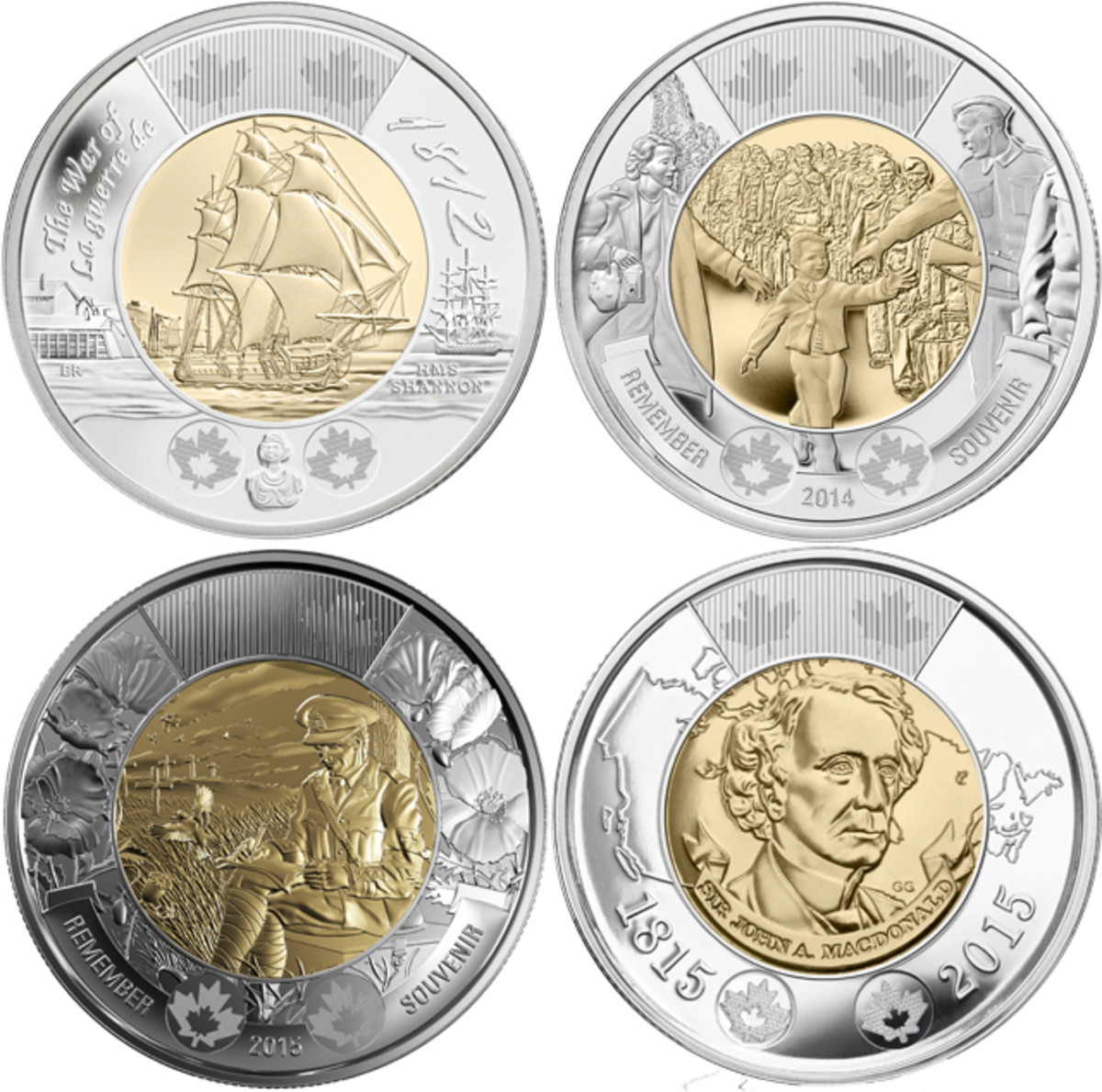 The reverse designs of Canada's 2012, 2014 and 2015 commemorative Toonies. All circulated alongside the traditional polar bear design. From to left clockwise: 200th anniversary of War of 1812, HMS Shannon, KM-1258; the outbreak of World War II, 'Wait for me Daddy', KM-1711; Sir John A. Macdonald, Father of Canadian Confederation; 100th anniversary of