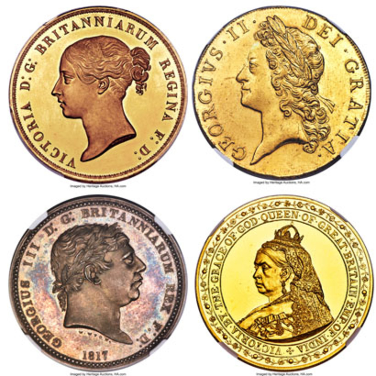 "A right royal flush: top left, Victoria Una and the Lion 5 pounds proof, $264,000; top right, George II gold 5 guineas, $240,000; bottom left, George III silver proof pattern ""Three Graces"" crown, 1817, $204,000; bottom right, Victoria gold proof pattern crown, $156,000. (Images courtesy and © www.ha.com)"