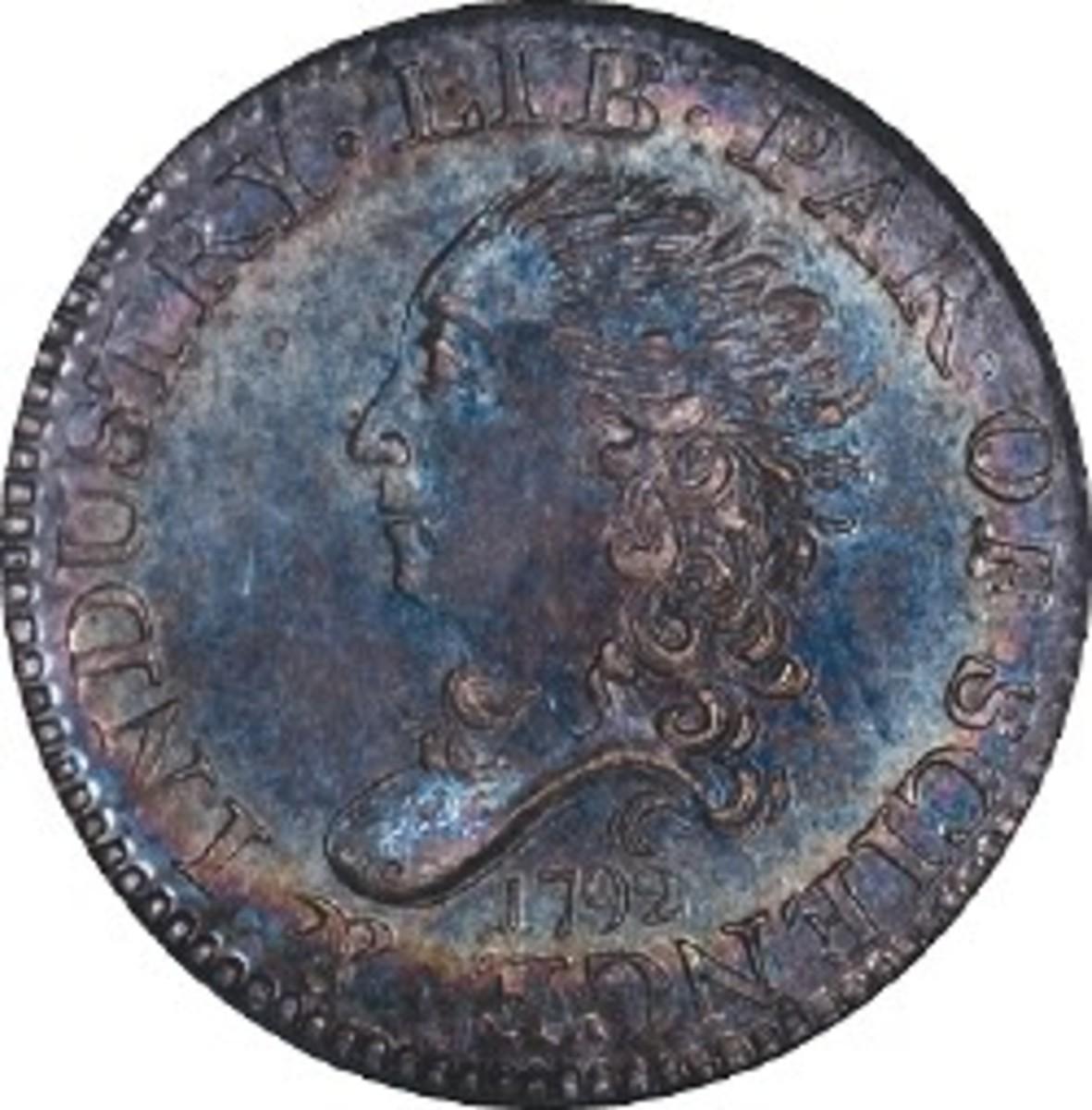 1792 Half Disme, NGC MS-68, front.jpg