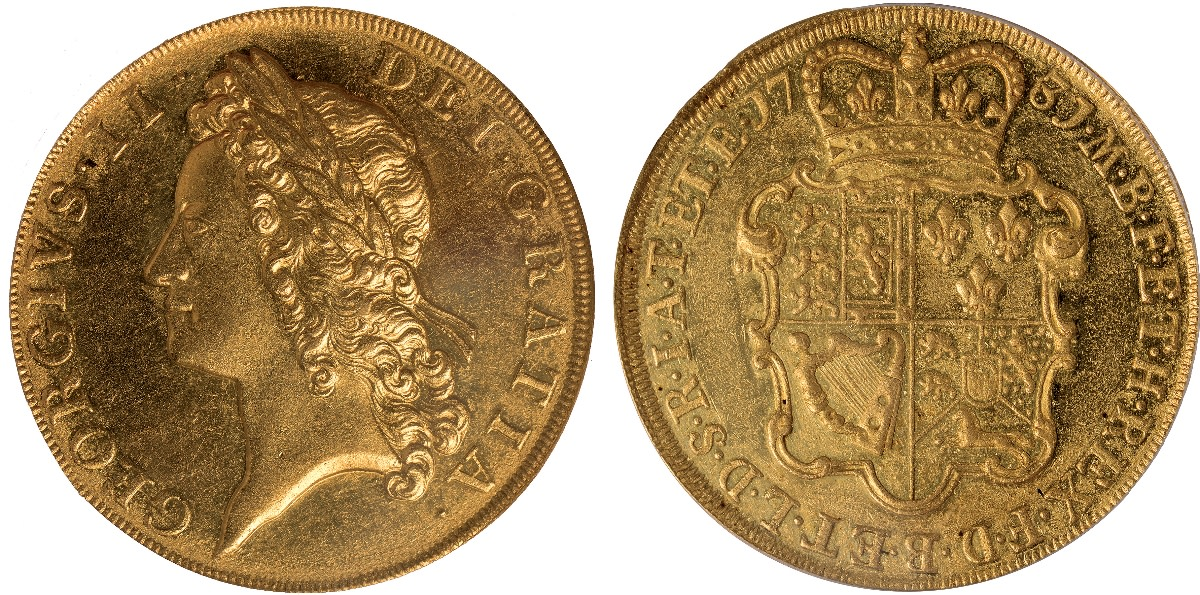 The second ever five guinea proof: George II proof 5 guineas of 1731 (KM-; S-3663A) that took $133,643 at Baldwin's of St James's Premier Sale in June. (Images courtesy Baldwin's of St James)
