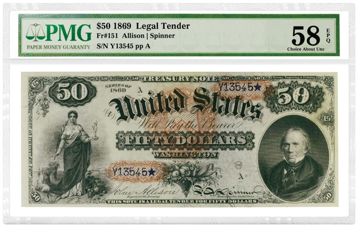 "Shown here is the 1869 Legal Tender ""Rainbow Note"" that realized $180,000 at auction. Image courtesy of PMG."