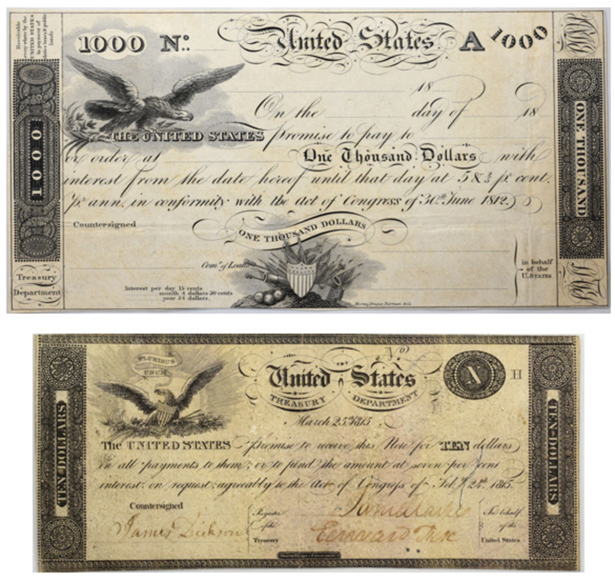 The TN-1 Act of June 30, 1812, $1,000 Treasury Note graded XF40 (top) and the TN-14b Act of February 24, 1815, $10 Fully Signed War of 1812 Treasury Note graded XF40 (bottom) from the Joel R. Anderson collection will be offered at the annual ANA National Money Show auction on March 29.