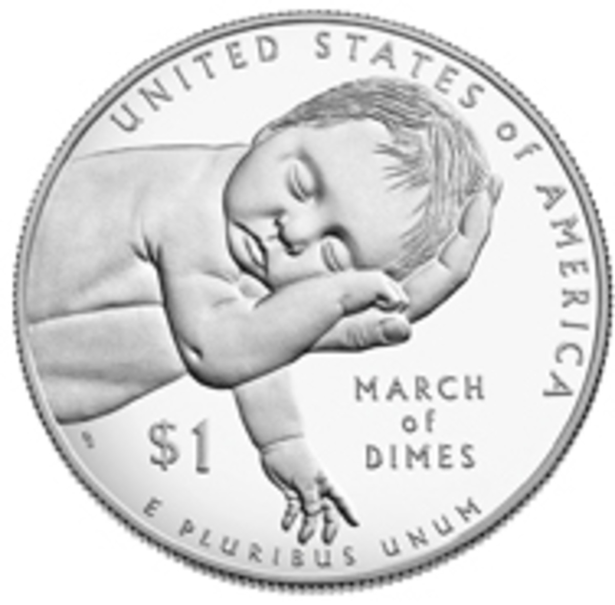 The 2015 $1 Silver March of Dimes Reverse designed by 2018 COTY Award winner for Lifetime Achievement in Coin Design, Don Everhart II.