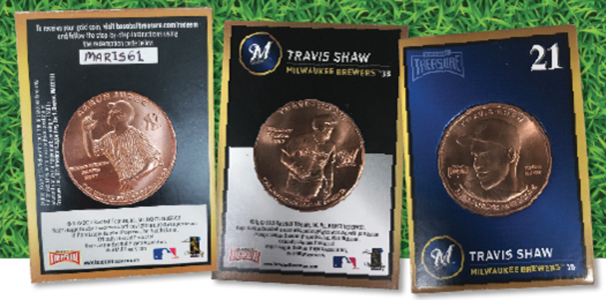 Left: The gold coin redemption card David Smith pulled from a pack featured a special redemption code related to the New York Yankees. (Photo courtesy David Smith) Center: The back of the Baseball Treasure coin features an action shot of the named player. Right: The front of the Baseball Treasure coins feature a portrait of the named player. The coin comes in a full color cardboard mount.