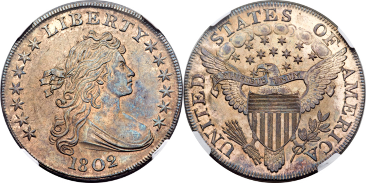 Bringing $58,892 was this MS-64 1802 narrow date Draped Bust dollar.