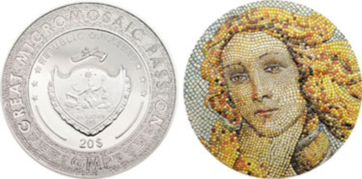 Most Innovative Coin — Republic of Palau — 20 Dollars, Silver — Great Micromosaic Passion - Birth of Venus