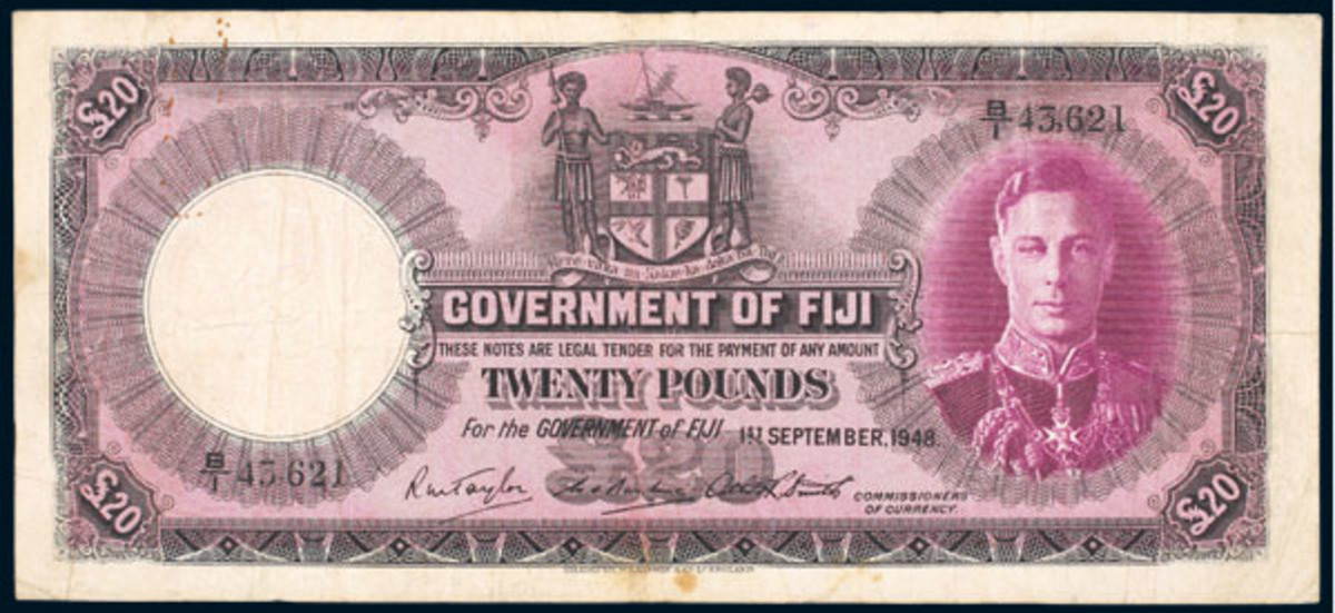 Rarest of the rare: George VI £20 of Sept. 1, 1948, P-43d. Forget the good F grade, it could be a decade before you see another.