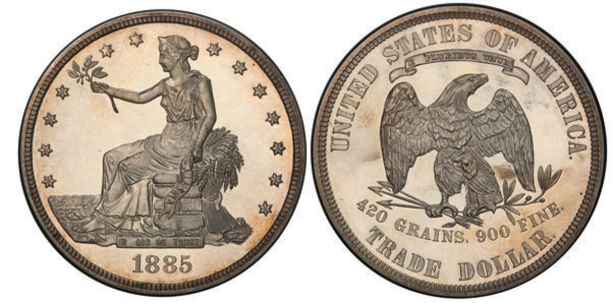 The 1885 Trade dollar graded PR-64 by PCGS being offered at the Whitman Baltimore Expo. Images courtesy PCGS.