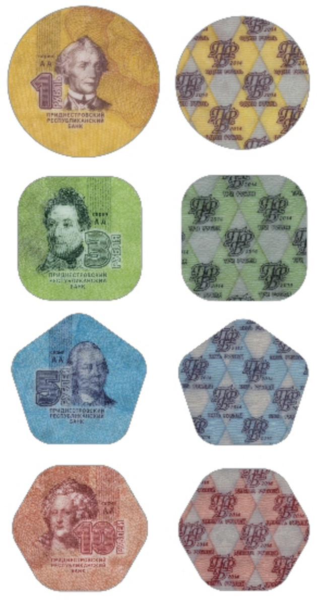 The 1- through 10-ruble plastic coins that will be introduced by the Transdnistrian Republican Bank.