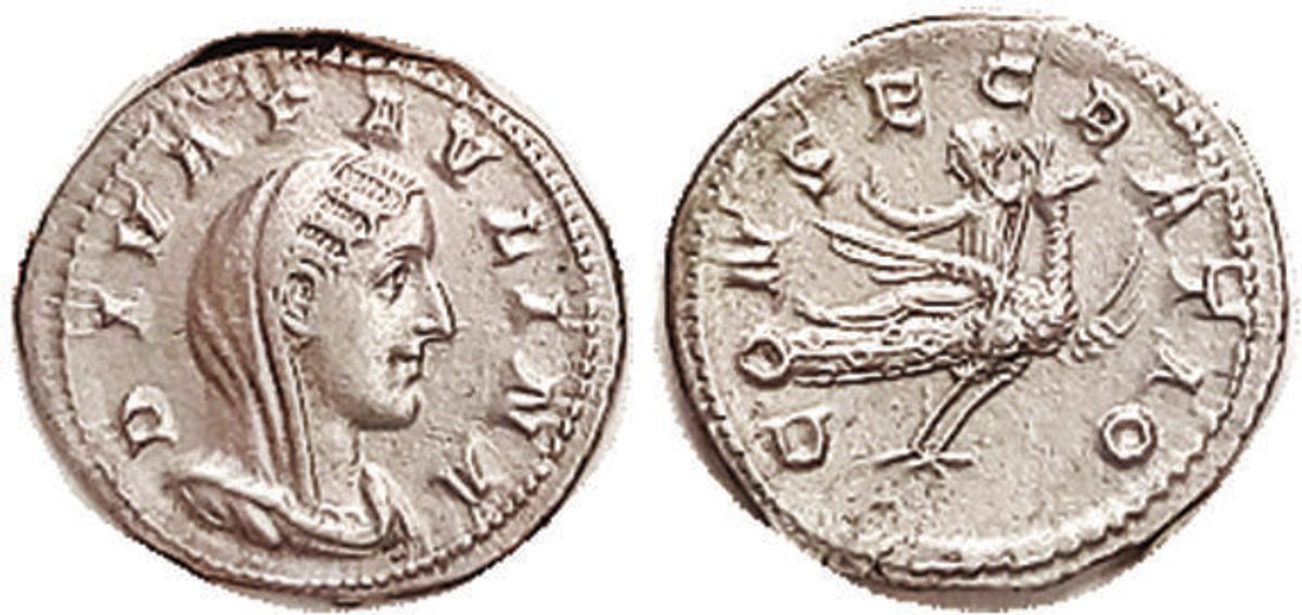 PAULINA, Den, CONSECRATIO, Paulina flying on Eagle in Economy Class; Choice EF, well centered & sharply struck with unusually strong detail on rev; good bright silver. (An EF brought $2700, Lanz 5/08.) Starting Bid $850