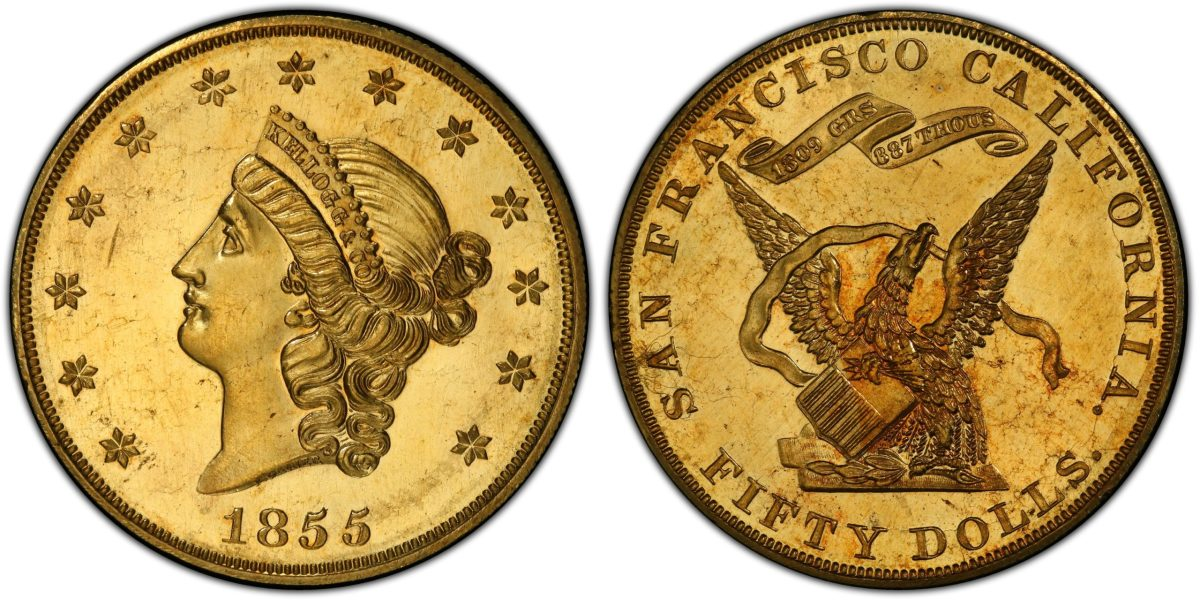 The finest known 1855 proof Kellogg $50 gold coin, graded PCGS PR-64 Cameo CAC, sold for a record $1 million by Witter Coin in San Francisco and will be exhibited by its new owner at the store's grand opening starting Feb. 10, 2020. (Image courtesy Professional Coin Grading Service, www.PCGS.com)