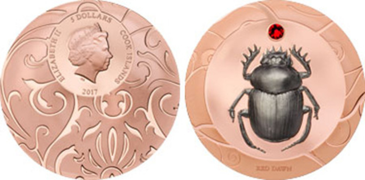 Best Crown Coin — The Cook Islands — 5 Dollars, Silver — Scarab Collection: Red Dawn