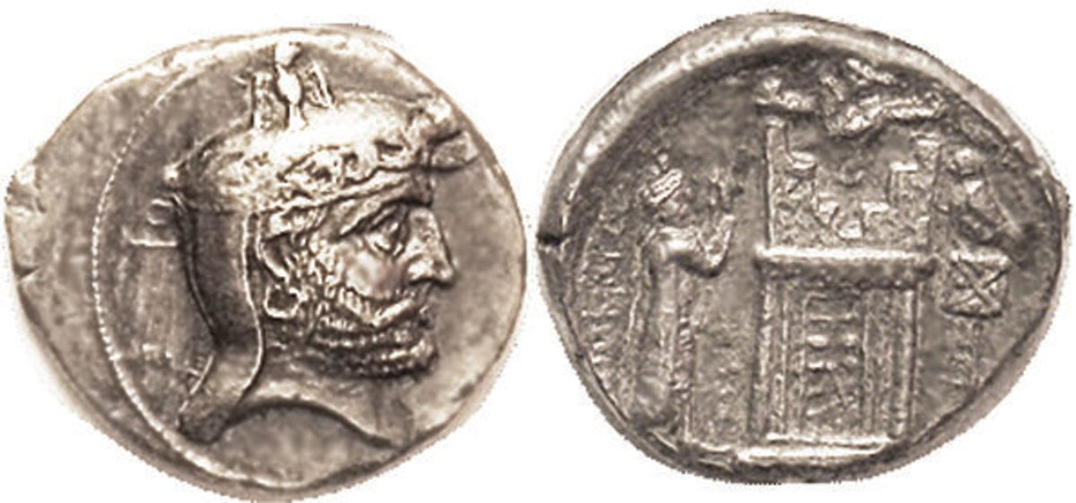 PERSIS, Autophradates (Vadfradad) II, 2nd cent BC, Tet, Head r wearing kyrbasia & diadem/ Fire temple betw king & standard, above half-figure of Ahura-Mazda; S6193, Alram 546; AEF, sl off-ctr but nothing lost, good metal, rev with only sl crudeness, less than usual; very nice portrait in high relief. Four Persis kings struck Tetradrachms, all fairly rare, but this is much the rarest, and a superior example. (GVFs brought $10,200, CNG 9/17; $7,794, Leu 5/18.) Starting Bid $1700