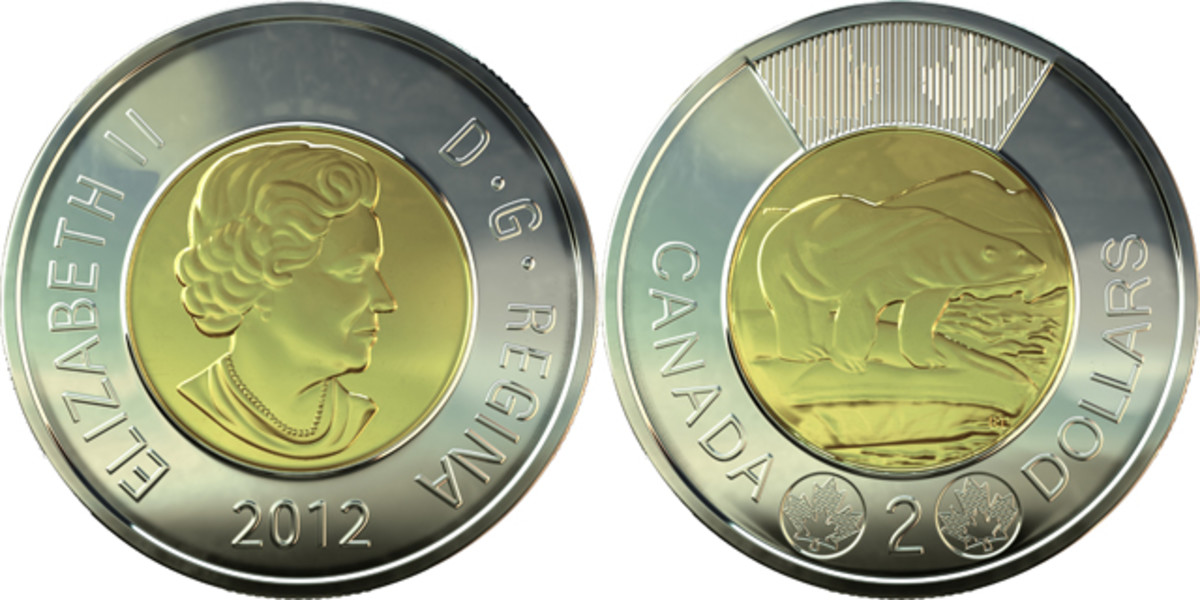 The high-security $2 introduced in 2012: 28 mm across, 1.75 mm thick, 6.92 g, KM-1257. The outer ring is multi-ply nickel-plated steel. The core is brass-plated aluminum-bronze. Reverse shows two laser engraved maple leaves at its base and a virtual image of two maple leaves at its top. The appearance of the latter changes on tilting the coin. Images courtesy RCM.
