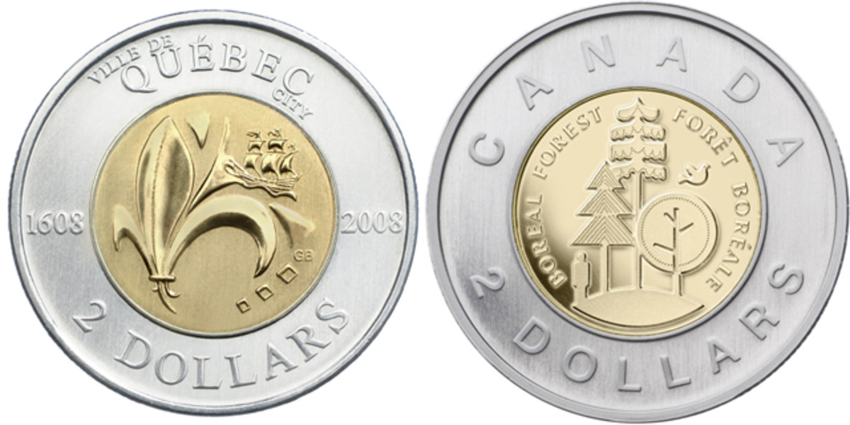 Reverses of circulation Toonies celebrating the 400th anniversary of the founding of Quebec (2008, KM-1040) and Canada's boreal forests (2011, KM-1167). Images courtesy RCM.