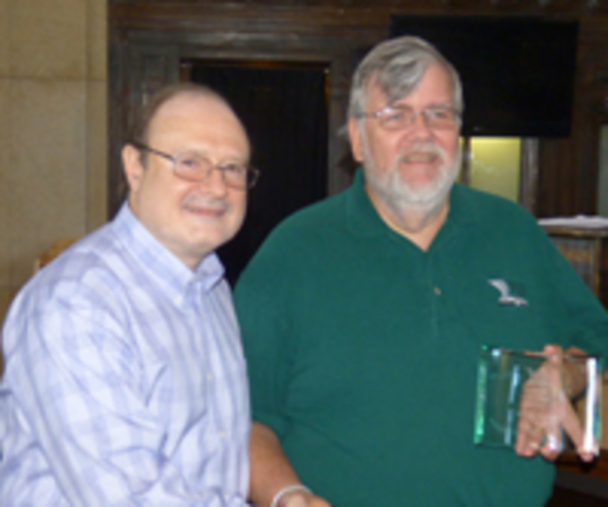 Wendell Wolka, right, was honored with the SPMC Nathan Gold Memorial Award. Presenting is Pierre Fricke.