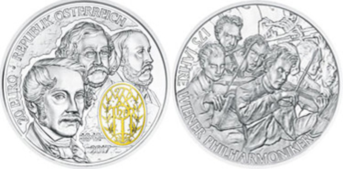 Most Historically Significant Coin — Austrian Mint — 20 Euro, Silver — 175th Anniversary of the Vienna Philharmonic Orchestra
