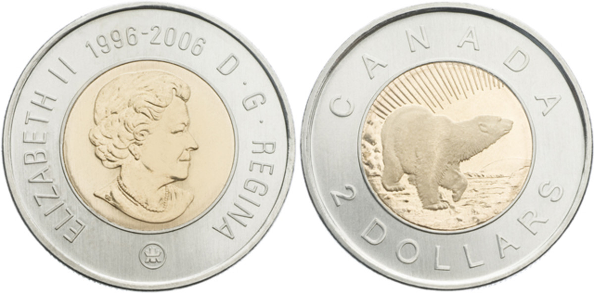 Obverse, top, and reverse, bottom, of Toonie struck to mark the 10th anniversary of Canada's $2 coin in 2006, KM-836. For the occasion artist Tony Bianco restyled the polar bear to show it looking up at the Aurora Borealis. This year the RCM added its mintmark to all Canadian circulation coinage. It appears beneath the effigy of the Queen with the double-date marking the anniversary, 1996-2006, shown above. The traditional polar bear coins struck this year did not show the mintmark but continued to sport their maple leaf above the Queen with the doubled date below. Images courtesy RCM.