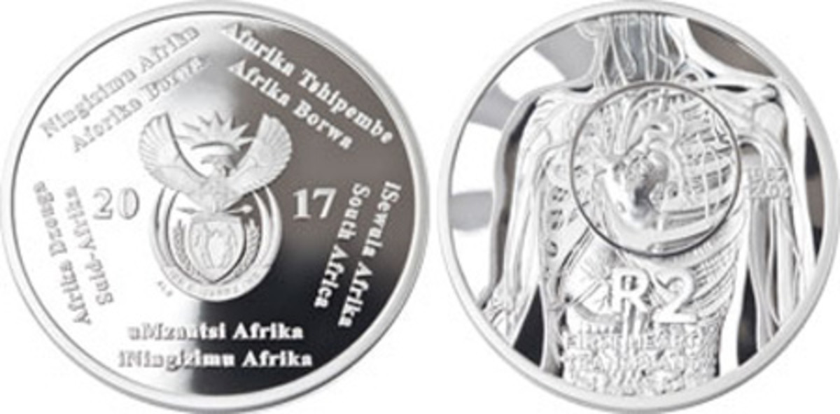 Best Contemporary Event Coin — The South African Mint — 2 Rand, Silver — South African Inventions: The Heart Transplant