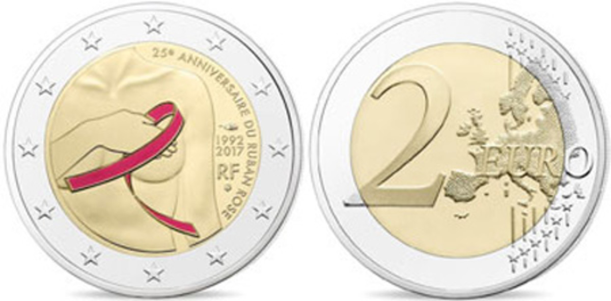 Best Bi-Metallic Coin — Monnaie de Paris — 2 Euro, Bi-metallic — The Fight Against Breast Cancer