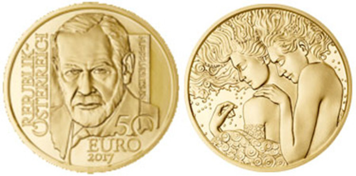 Most Artistic Coin — Austrian Mint — 50 Euro, Gold — The Vienna Schools of Psychotherapy - Sigmund Freud
