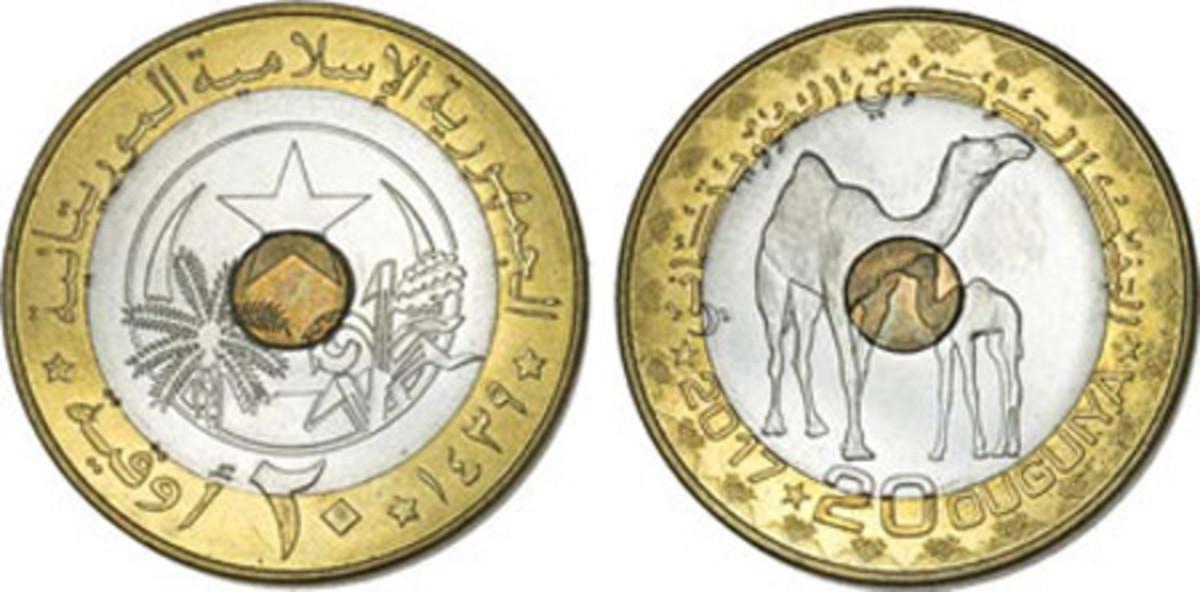Best Circulating Coin — The Central Bank of Mauritania — 20 Ouguiya, Tri-metallic Camels