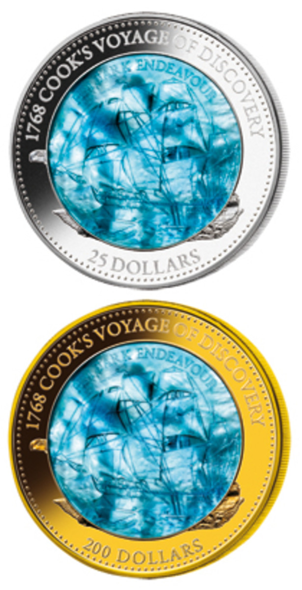Reverses of the spectacular Solomon Islands' silver $25 (top) and gold $200 (bottom) that pay tribute to 'HMB Endeavour' and mark the 250th anniversary of its voyage of discovery. (Images courtesy Downies ex MDM)