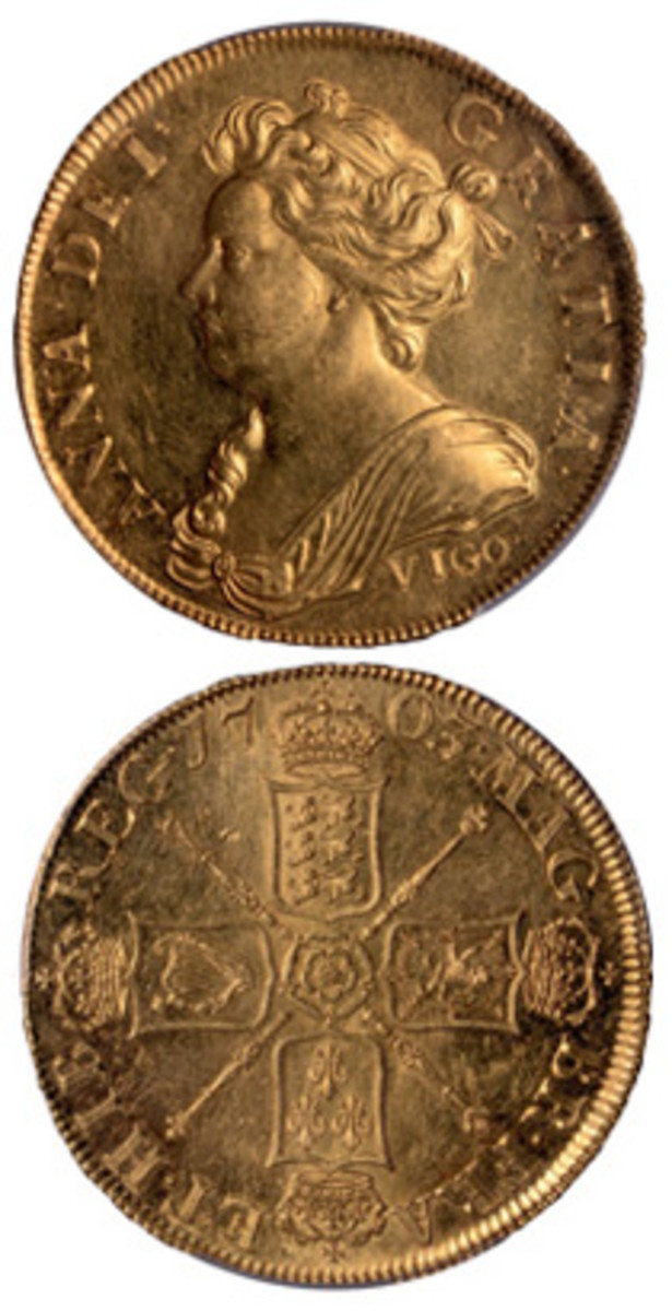 The rare Queen Anne VIGO 5 guineas of 1703 (KM-520.1; S-3561) that realized $1,080,000 at Baldwins of St. James's New York Premier Sale – a world record price for a British coin. (Image courtesy & © Baldwins of St. James's)
