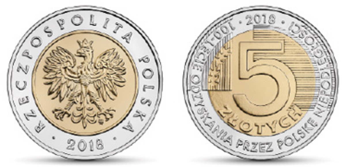 A simple graphic decorates the reverse of Poland's bimetallic 5 zlotych marking the centenary of the country's restoration as a sovereign state in the aftermath of World War I. (Image courtesy Narodowy Bank Polski)
