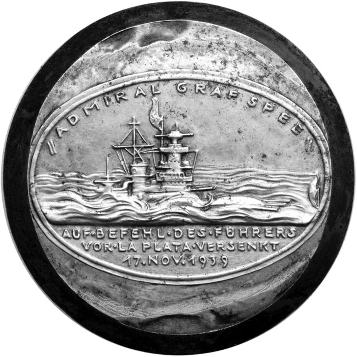 Reverse of the 1939 Admiral Graf Spee medal die