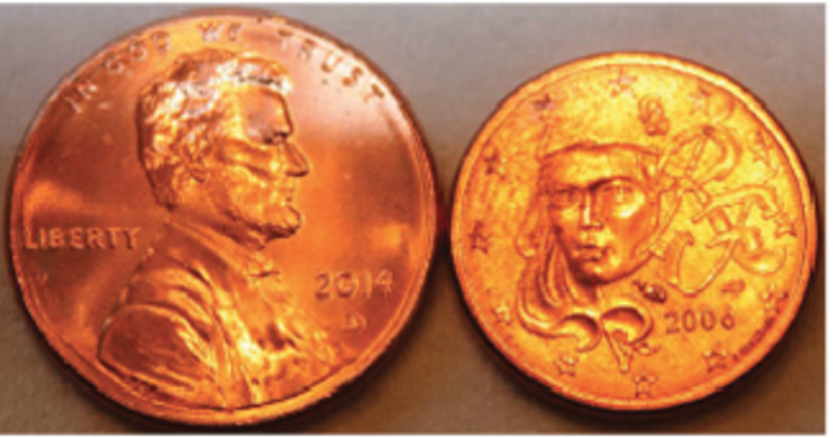 The 1-cent euro coin (right) is smaller in size than the current U.S. cent.