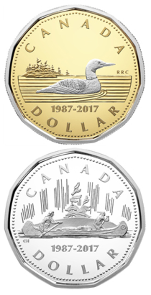 "Reverses of the 30th anniversary gold version of Carmichael's Loon dollar (top) and the silver showing Hahn's ""Voyageur"" dollar (bottom). The latter had been the intended 1967 reverse. (Images courtesy Royal Canadian Mint)"