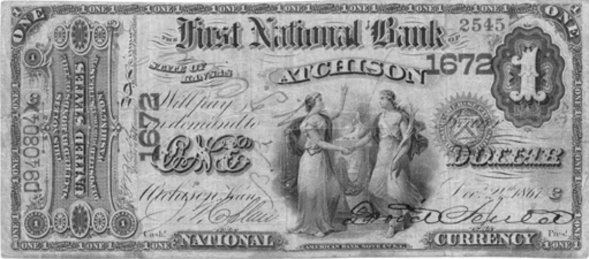 Original Series $1 from Atchison with the right charter number above the Treasury seal, a variety produced between about May 12 and July 27, 1874, on new 1-1-1-2 sheets.