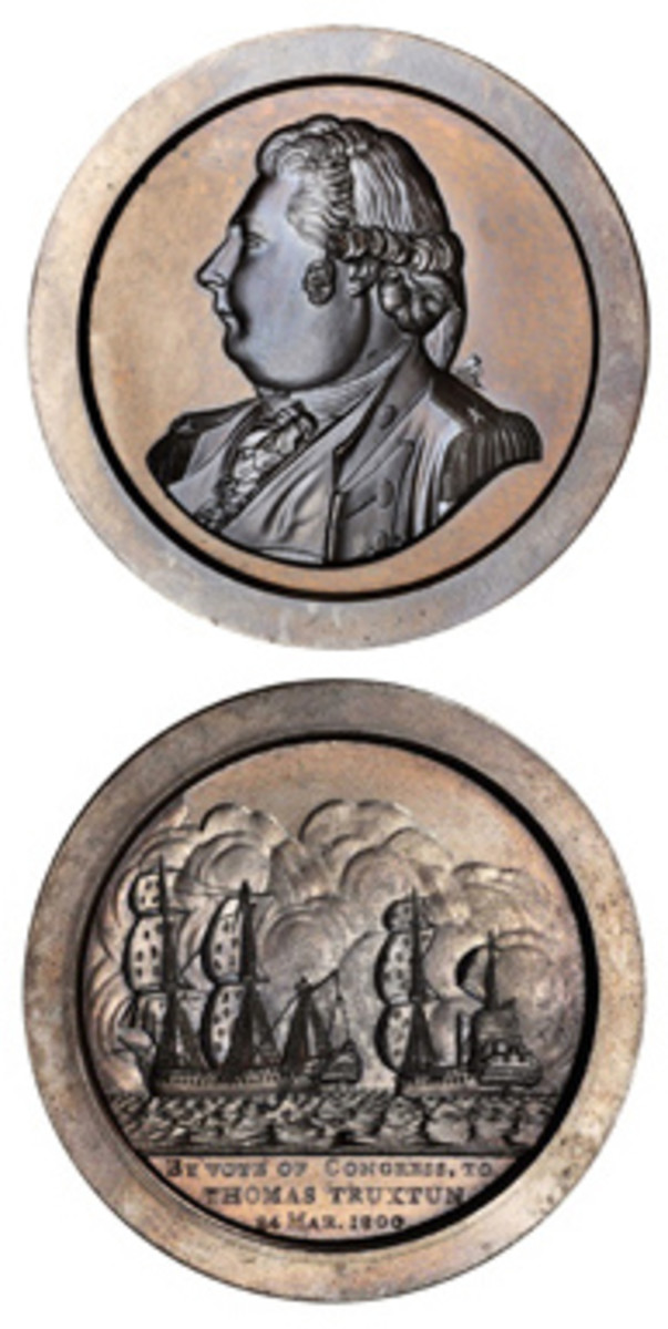 Thomas Truxtun received a gold medal for a 1799 battle with the French.
