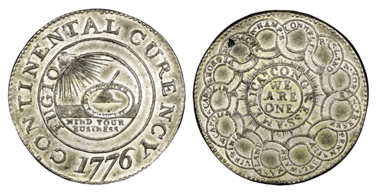 This pewter Continental dollar is from the Eric P. Newman Collection.