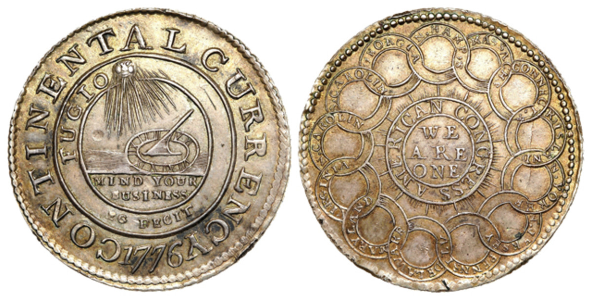 This silver Continental dollar is from the Eric P. Newman Collection.