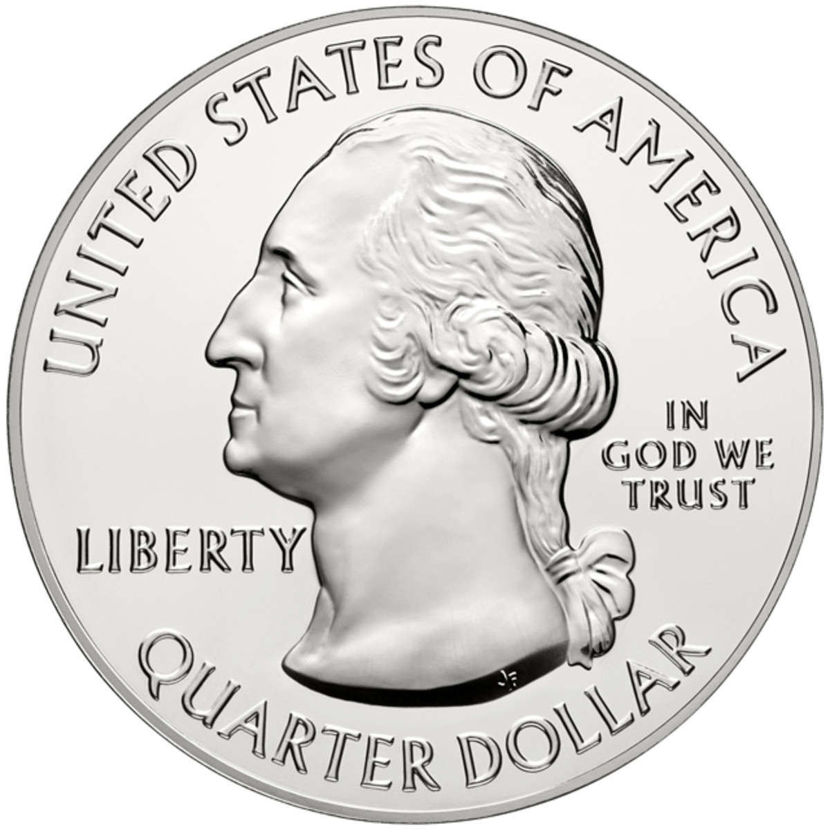 "The America the Beautiful 5-ounce silver coins share a common obverse seen here, though the collector's uncirculated version adds a ""P"" mintmark to the right of Washington's bust."