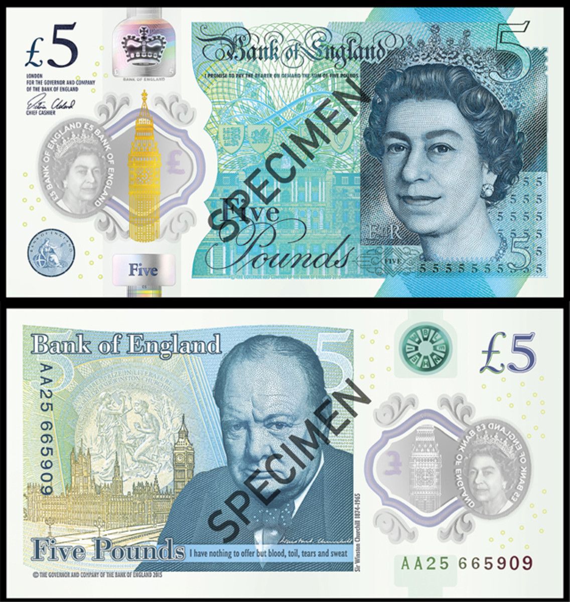 Face and back of the Bank Of England's new £5 note to be released in September. This is the bank's first polymer issue. Images courtesy & © Bank of England.
