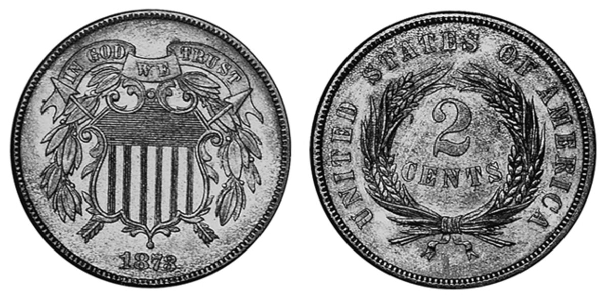 """At the end of a 10-year run, the 1873 two-cent saw a mintage of 1,100 coins between open and closed """"3"""" varieties. A closed """"3"""" like the one shown can be had for $3,850 in Proof-65."""
