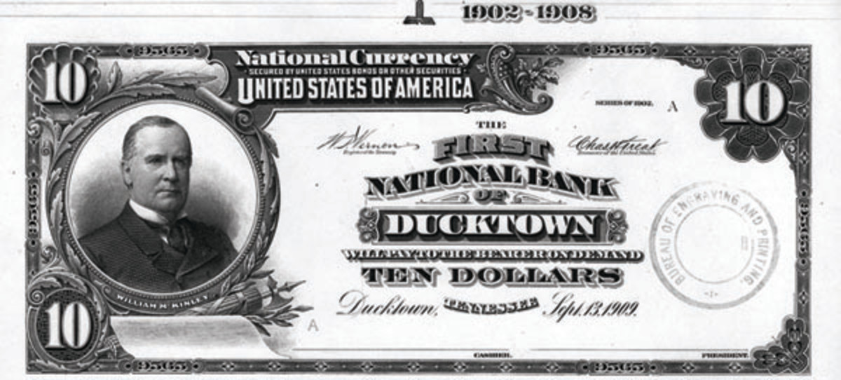Proof $10 note from the First National Bank of Ducktown, Tenn., for which no issued notes are known.