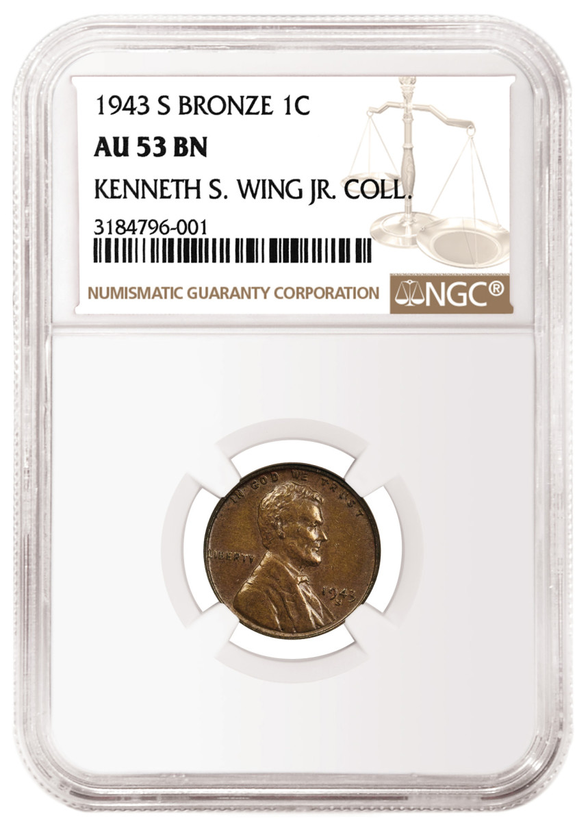 "This 1943-S Bronze Lincoln Cent graded NGC AU 53 realized $216,000. A handful of bronze (or ""copper"") cents were accidentally struck in 1943 when all 1943-dated cents were supposed to have been struck on zinc-coated steel planchets so copper could be conserved for US efforts to win World War II."
