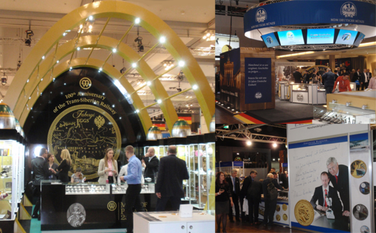 Examples of booths at the World Money Fair (Left) The Mint of Poland, (Top Right) MDM Deutsche Münze and (Bottom Right) Emporium Hamburg.