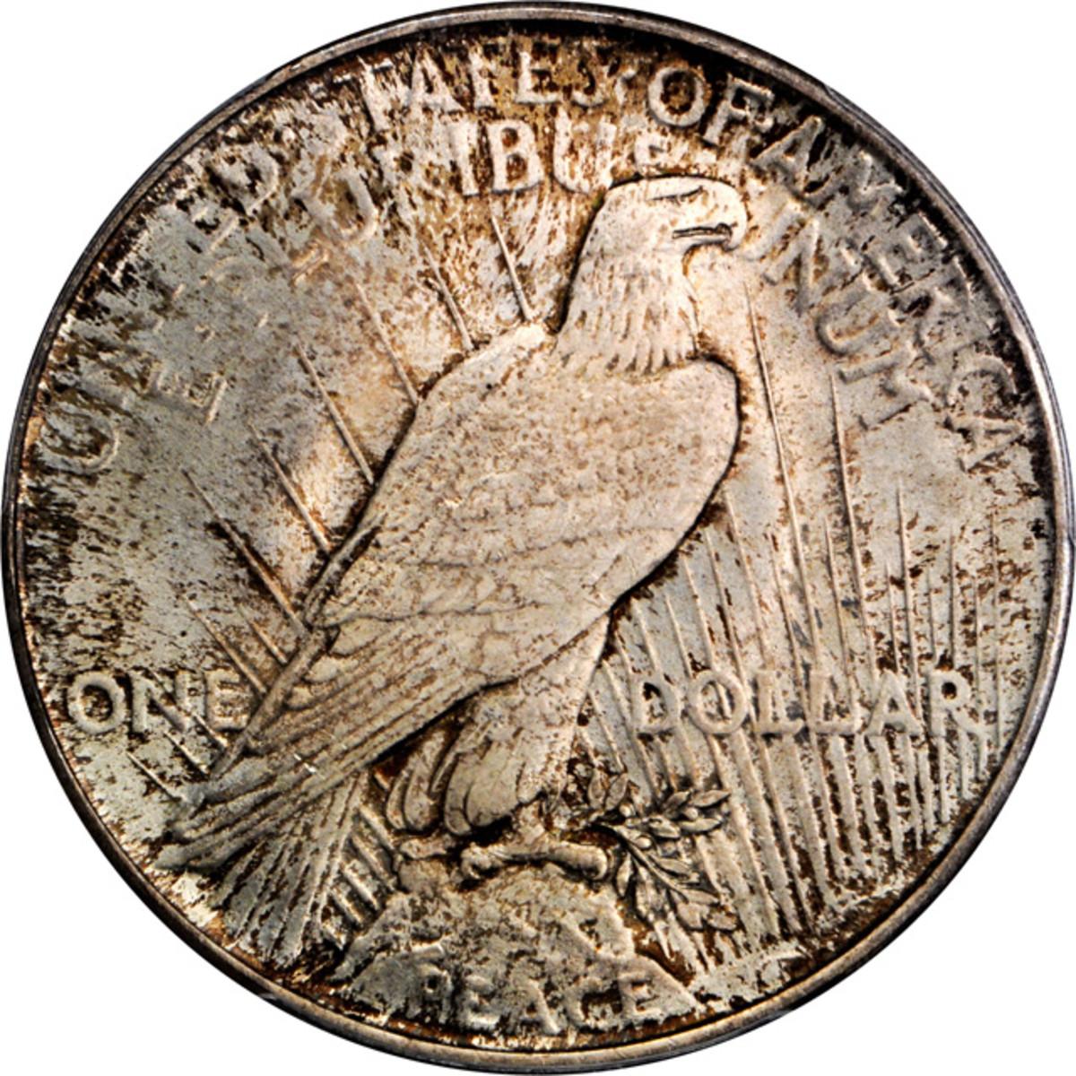 Lot 13170. 1922 Peace silver dollar. Early hub dies. PCGS MS-67. Ex: Raymond T. Baker Estate.