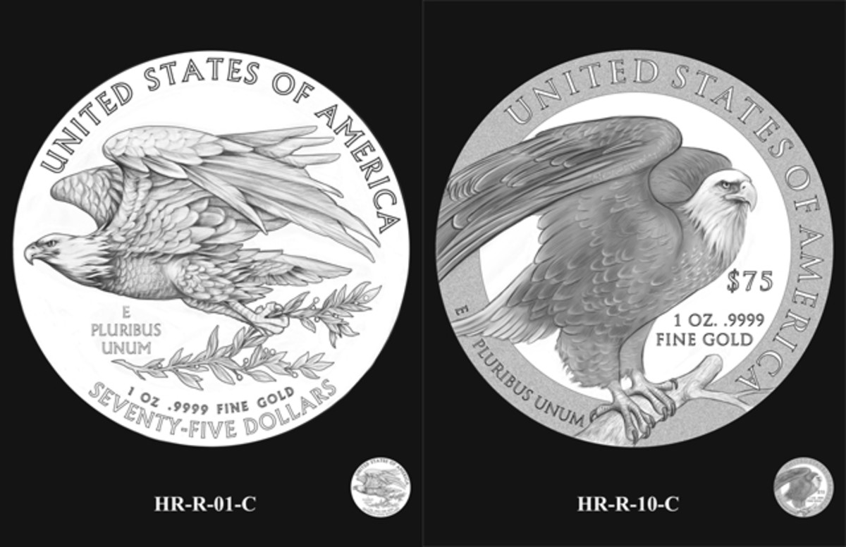 The two reverse designs recommended by the CFA to the Secretary of the Treasury.