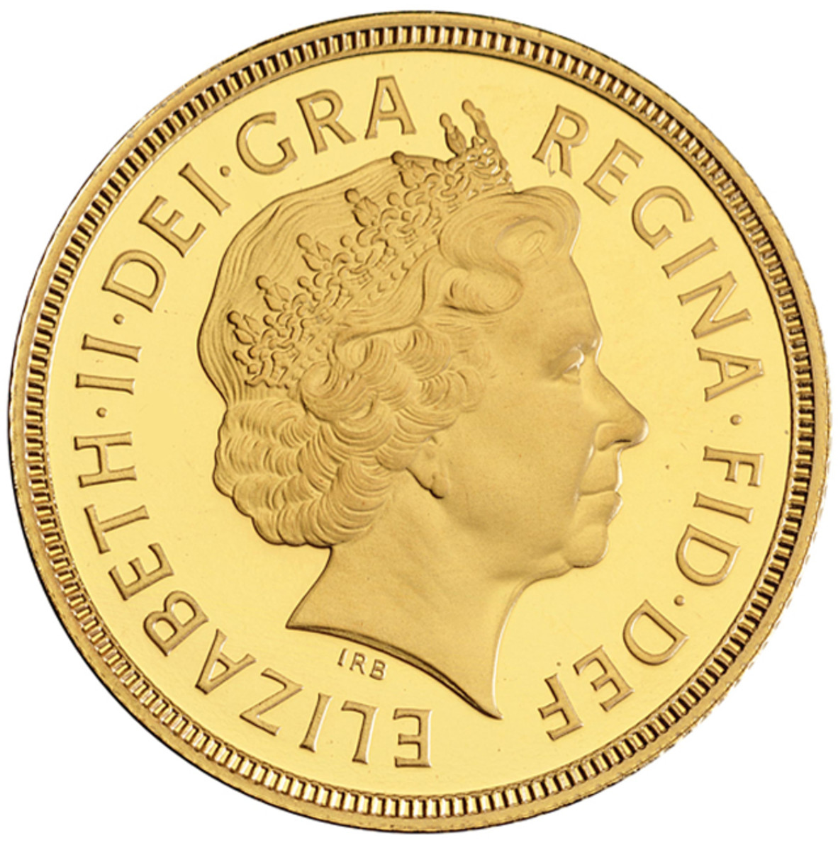 "… ""a 70-year old woman with poise and bearing"": Ian Rank-Broadley's 1998 effigy of Her Majesty, shown with the ""Girls of Great Britain and Ireland"" tiara complete. The initials ""IRB"" appear in the field and not on the truncation of the bust. Image courtesy & © The Royal Mint."